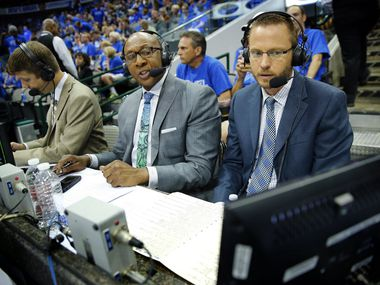 Mavs announcers Mark Followill, right, Derek Harper, center, work the broadcast during halftime of the NBA Western Conference Quarterfinals Game 3 at the American Airlines Center in Dallas, Texas, Saturday, April 26, 2014.