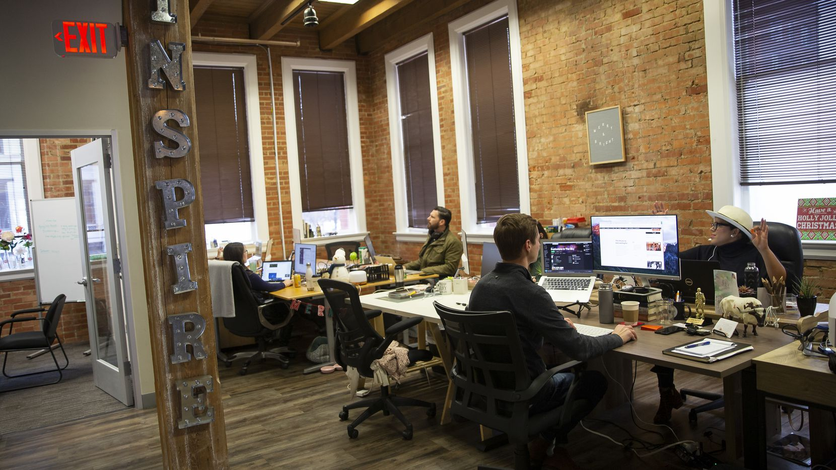 The InspireMore's West End open concept office space on Dec. 16, 2019 in Dallas. (Juan Figueroa/The Dallas Morning News)