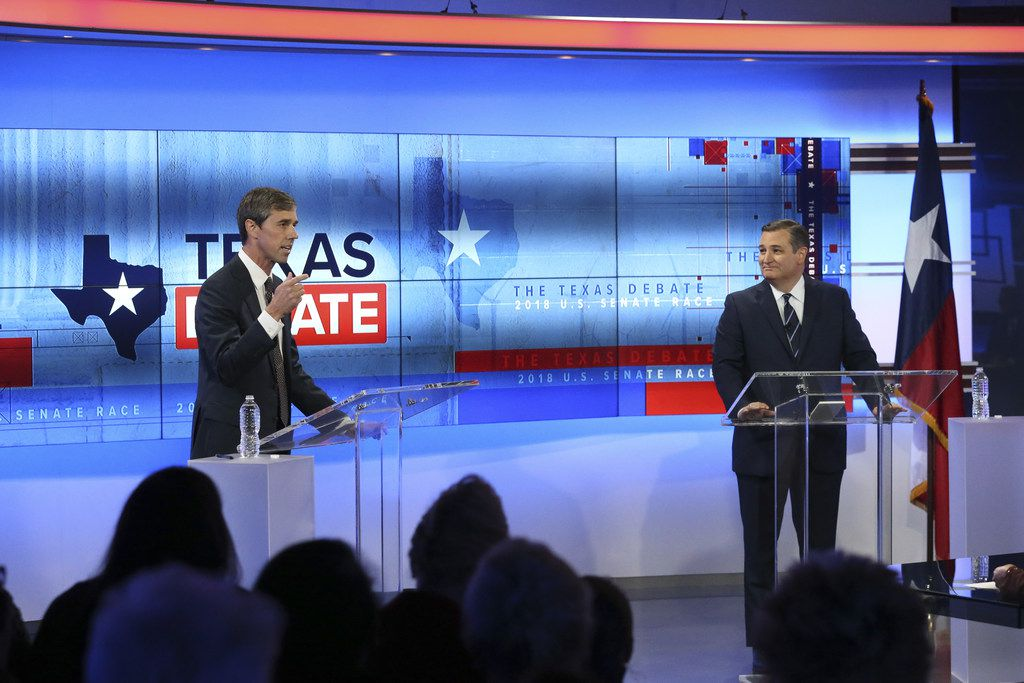 SAN ANTONIO, TX - OCTOBER 15:  U.S. Rep. Beto O'Rourke (D-TX) and U.S. Sen. Ted Cruz (R-TX) face off in a debate at the KENS 5 studios on October 16, 2018 in San Antonio, Texas. A recent poll show Cruz leading O'Rourke 52-45 percent among likely voters.