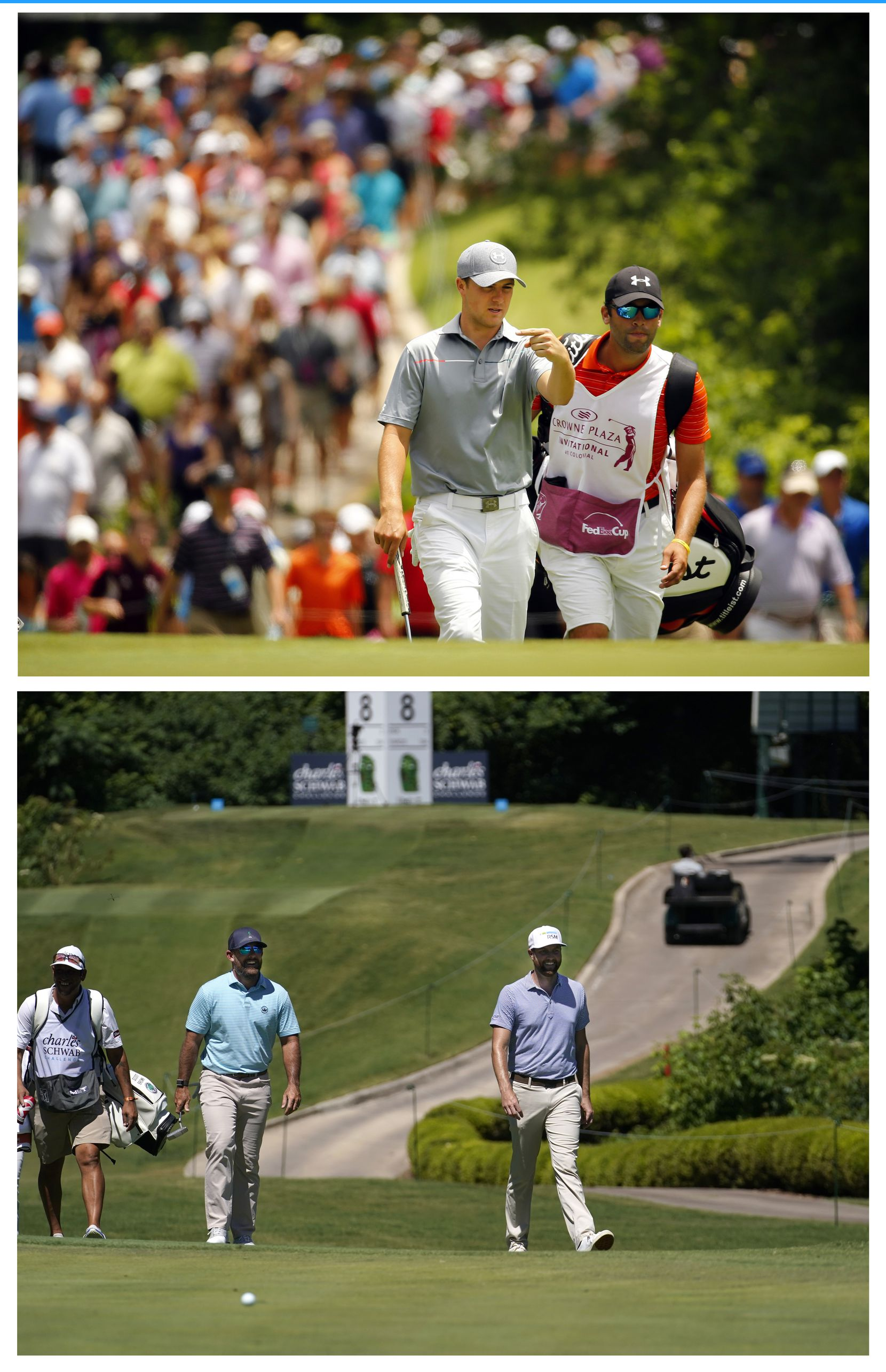 THEN - With a huge gallery in tow, golfer Jordan Spieth of Dallas, walks up the par-3, 8th with his caddie during the final round of the PGA Crowne Plaza Invitational at Colonial Country Club in Fort Worth, Sunday, May 25, 2014.  NOW - Without any fans in attendance, PGA Tour golfers Scott Brown (left) and Chris Kirk walk up to the No. 8 green during the second round of the Charles Schwab Challenge at the Colonial Country Club in Fort Worth, Friday, June 12, 2020.