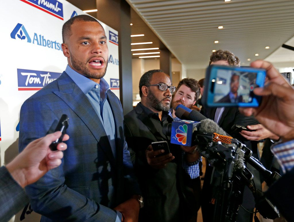 Dallas Cowboys quarterback Dak Prescott talks with the media at the Alberstons all-star gala at the Star in Frisco, Texas, Tuesday, April 17, 2018. (Jae S. Lee/The Dallas Morning News)