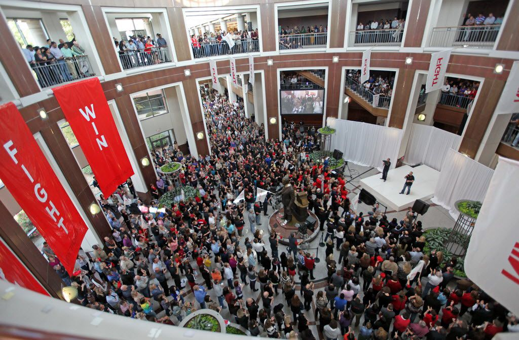 """J.C. Penney CEO Myron """"Mike"""" Ullman addresses employees at a rally held at the company headquarters in Plano on Monday, October 21, 2013. (Stewart F. House/Special Contributor)"""