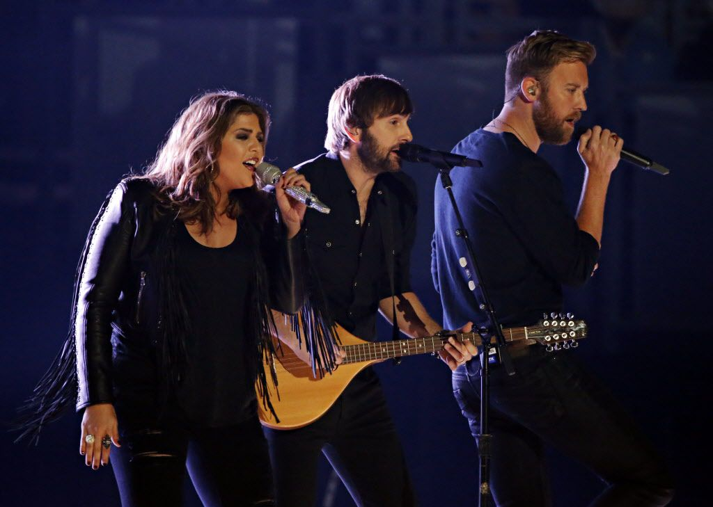 Lady Antebellum perform during the 2015 Academy of Country Music Awards Sunday, April 19, 2015 at AT&T Stadium in Arlington, Texas.