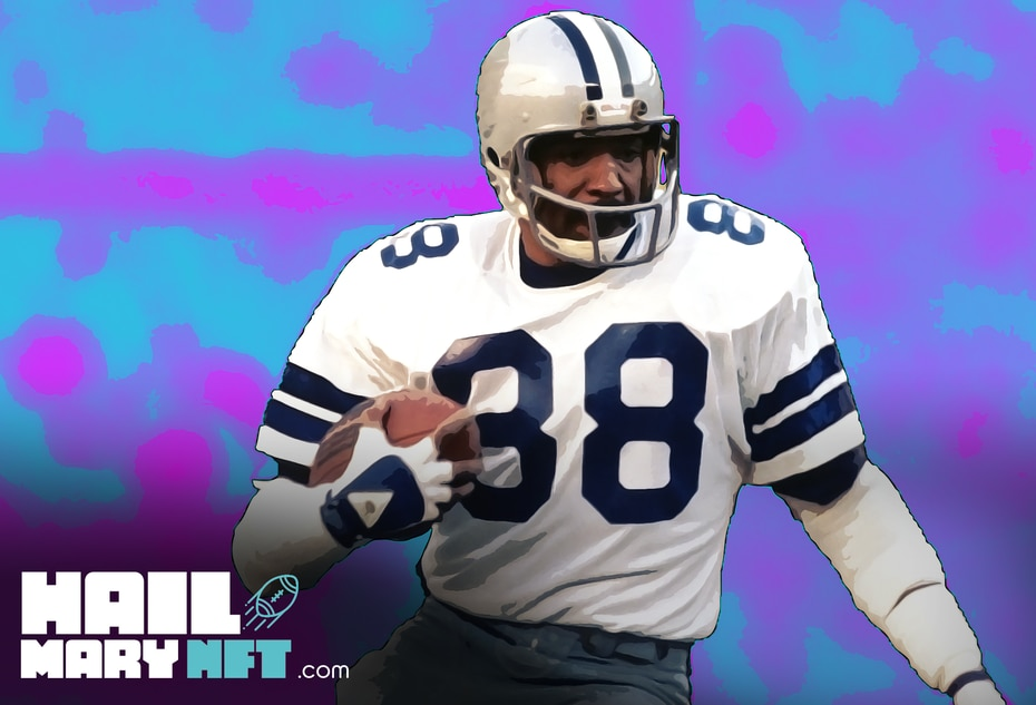 A look at the NFT commemorating former Dallas Cowboys players Drew Pearson and Roger Staubach's famous Hail Mary play from 1975.