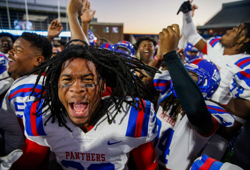 Duncanville linebacker Jordan Chapple (38) celebrates a win over Rockwall in the Class 6A Division I state semifinal football matchup on Saturday, Dec. 14, 2019 at McKinney ISD Stadium in McKinney, Texas. (Ryan Michalesko/The Dallas Morning News)