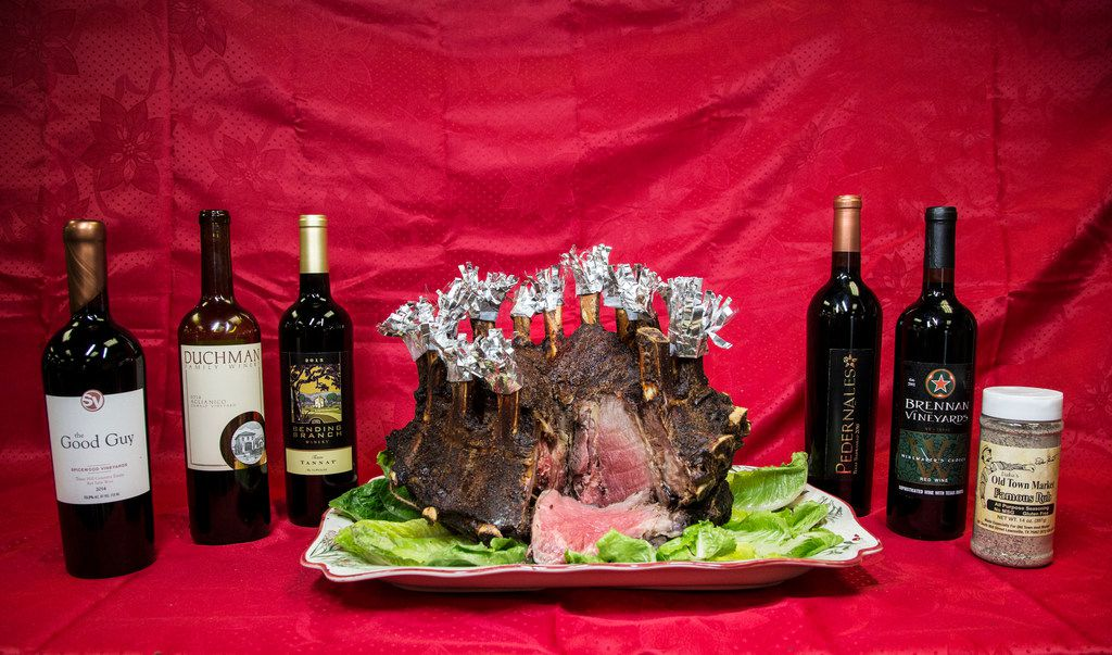 A crown roast paired with wines from Texas Fine Wine: 2014 Spicewood Vineyards Good Guy, 2015 Duchman Family Winery Aglianico, 2015 Bending Branch Winery Texas Tannat, 2016 Pedernales Cellars Texas Tempranillo, and Brennan Vineyards W (Winemakers Choice Vol. IV).