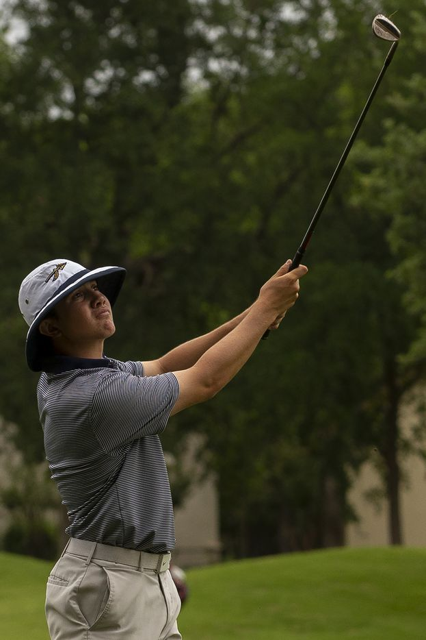 KellerÕs Kaelen Dulany hits from the fairway on the 13th hole during the final round of the UIL Class 6A boys golf tournament in Georgetown, Tuesday, May 18, 2021. (Stephen Spillman/Special Contributor)