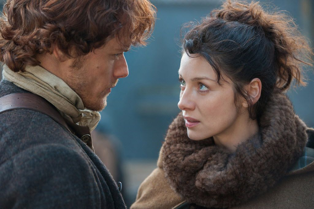 "Sam Heughan and Caitriona Balfe star in ""Outlander."""