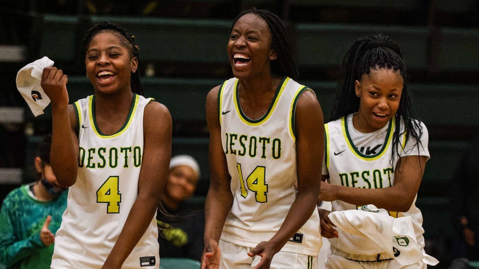 DeSoto's Ja'Mia Harris (left) committed to Texas Tech on Friday.