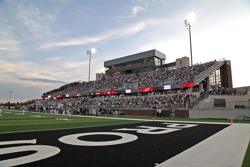 Fans filled the stands on the home side for the first game the in the new stadium as Prosper High School hosted Rowlett High School in a non-district football game at Children's Health Stadium in Prosper on Friday, August 30, 2019. (Stewart F. House/Special Contributor)