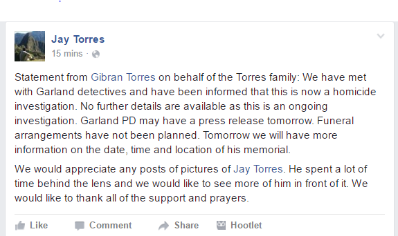 The family posted a statement about Torres on Facebook. (Courtesy of Facebook)