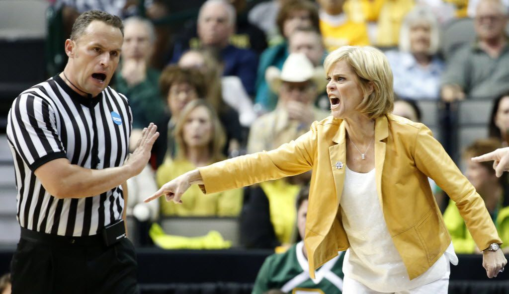 Baylor head coach Kim Mulkey, right, yells at a referee during the first quarter against Oregon State in the Regional Final game of the NCAA Women's Basketball Tournament at American Airlines Center in Dallas, Monday, March 28, 2016. (Jae S. Lee/The Dallas Morning News)