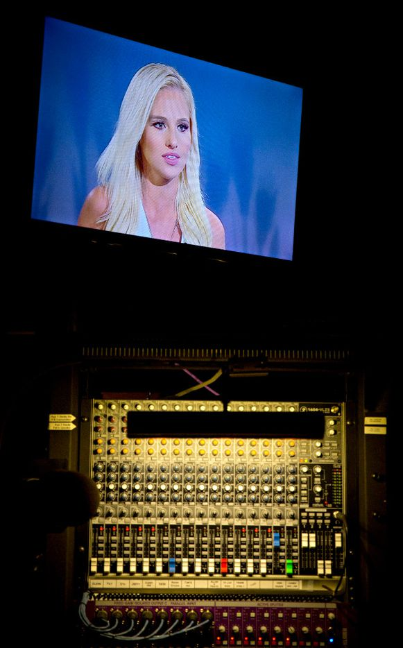 """A television screen above an audio control panel broadcasts a taping of Tomi Lahren's show """"Tomi"""" Tuesday, October 11, 2016 in Irving, Texas. Lahren, 24, is a rising conservative commentator who hosts a show on Glenn Beck's The Blaze multimedia network, which is based in Irving, Texas. (G.J. McCarthy/The Dallas Morning News)"""