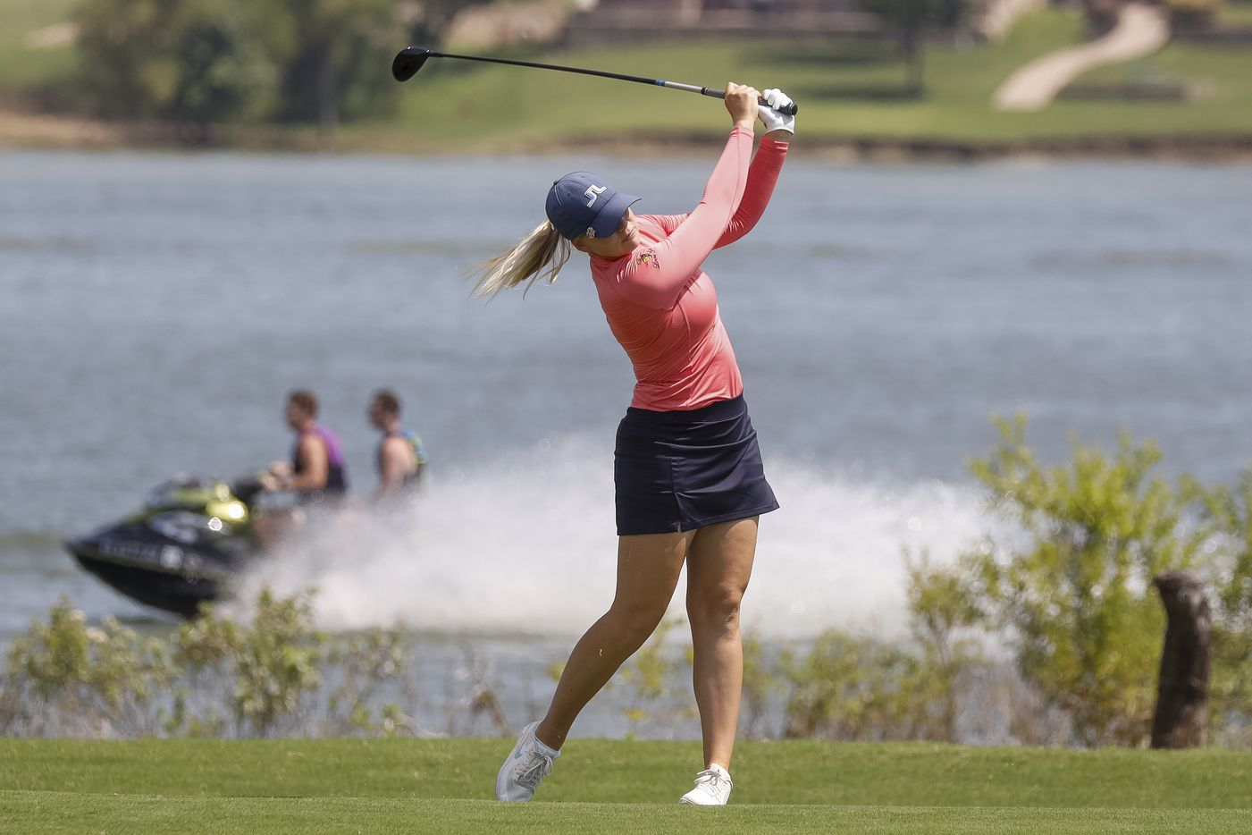 Professional golfer Matilda Castren plays a ball off the No. 5 fairway during the final round of the LPGA VOA Classic on Sunday, July 4, 2021, in The Colony, Texas. (Elias Valverde II/The Dallas Morning News)