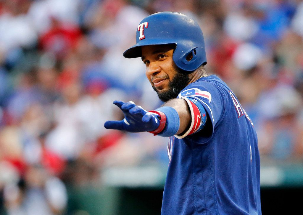 Texas Rangers shortstop Elvis Andrus (1) waves Houston Astros dugout before his first at-bat at Globe Life Park in Arlington, Texas, Saturday, July 13, 2019.