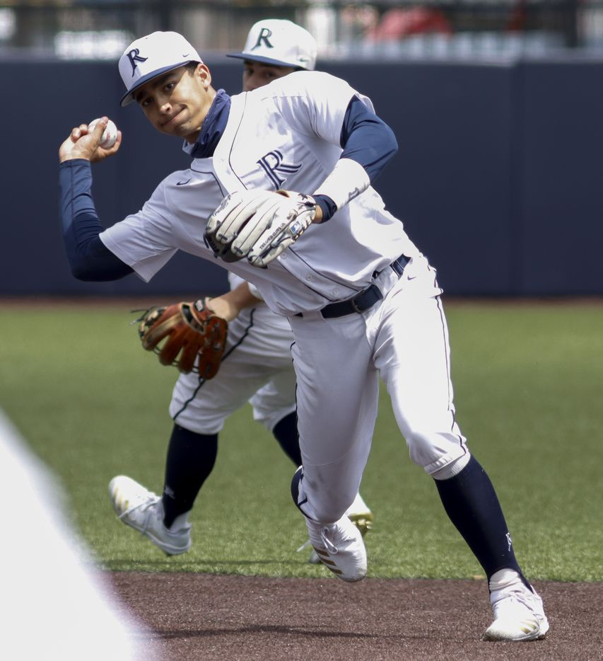 Jesuit shortstop Jordan Lawlar throws to first for an out during a district 7-6A game against Richardson at Jesuit College Preparatory in Dallas, Saturday, April 24, 2021. (Elias Valverde II / Special Contributor)