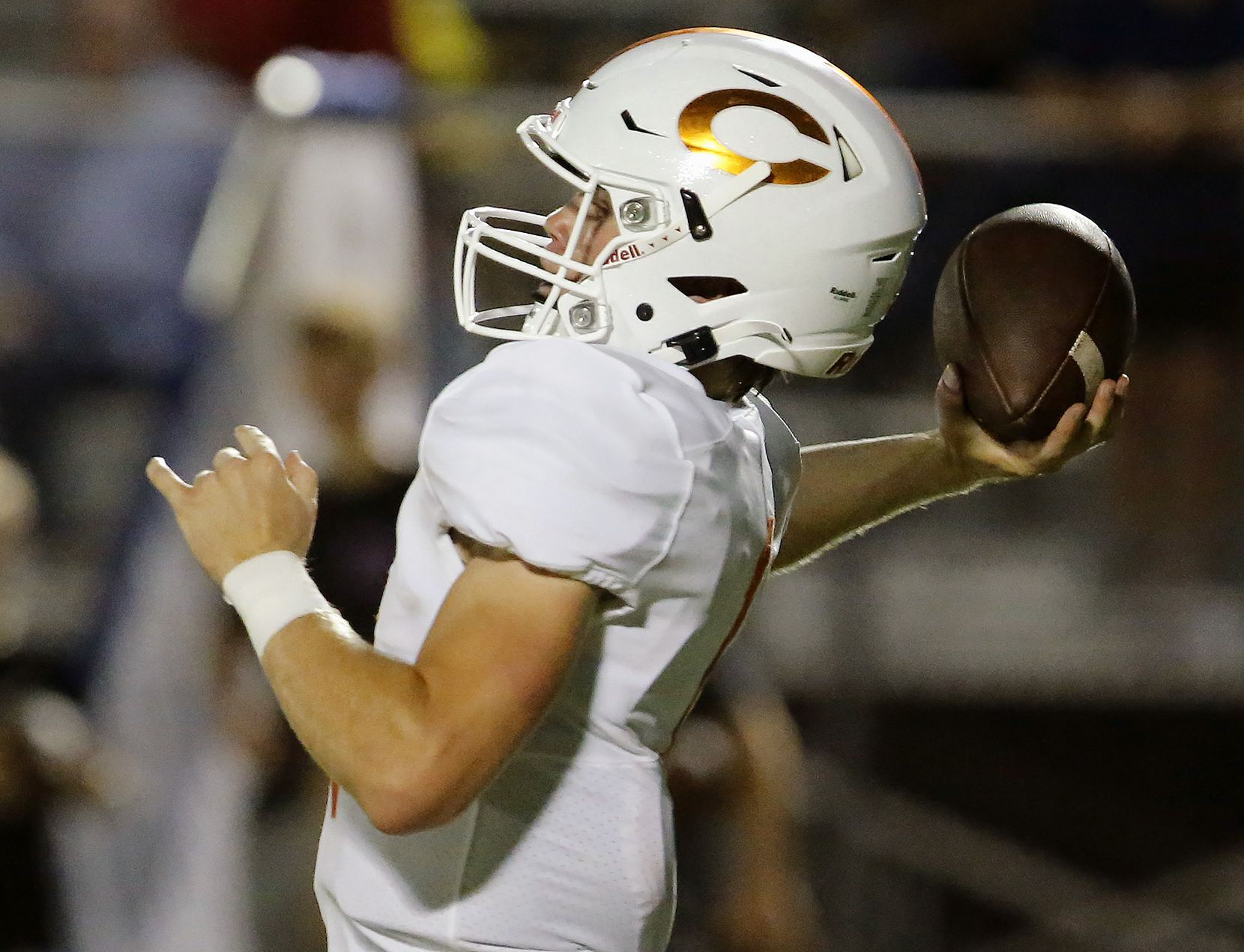 Celina High School quarterback Noah Bentley (1) throws a pass during the first half as Melissa High School hosted Celina High School at Cardinal Field in Melissa on Friday night, August 27, 2021. (Stewart F. House/Special Contributor)