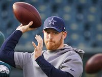 Dallas Cowboys quarterback Cooper Rush warms up before an NFL football game against the Philadelphia Eagles at Lincoln Financial Field on Sunday, Dec. 22, 2019, in Philadelphia.