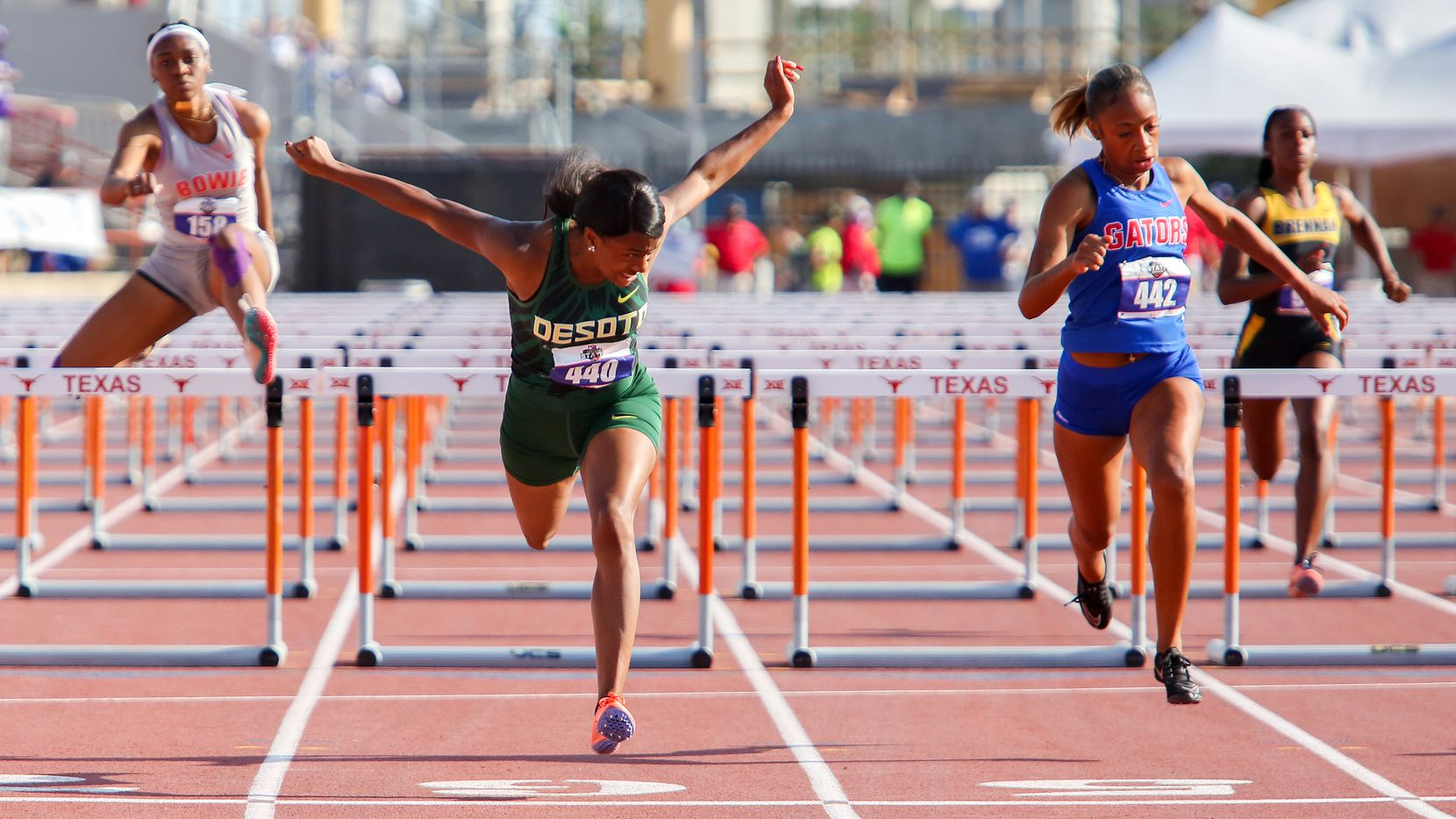 DeSoto's Jalaysi'ya Smith wins the Class 6A state title in the girls 100-meter hurdles at the University of Texas' Mike A. Myers Stadium in Austin on May 8, 2021. Smith ran a wind-aided 12.93 that is the No. 1 time in the nation.
