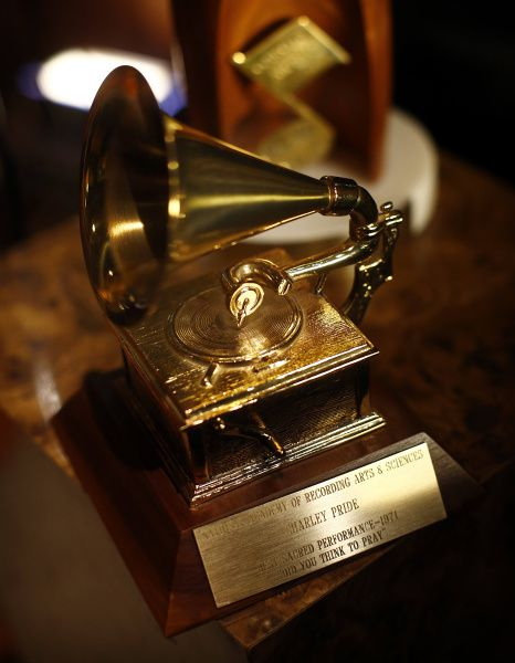 """Country star Charley Pride's 1971 Grammy Award for Best Sacred Performance, """"Did You Think to Pray"""", is part of his collection of memorabilia being donated to the Smithsonian's National Museum of African American History and Culture,. He is photographed at his Dallas studios, Monday, September 24, 2012."""