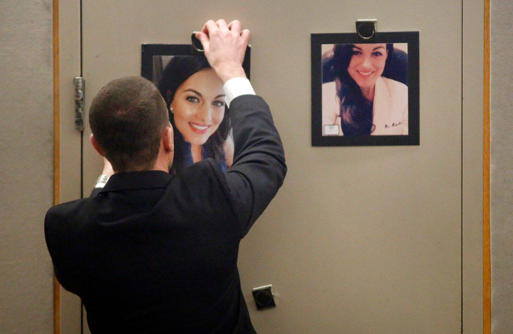 Photos of Kendra Hatcher are hung by prosecutor Justin Lord before the jury during the murder trial for Brenda Delgado in the 363rd Judicial District Court at the Frank Crowley Courthouse in Dallas, Monday, June 3, 2019. Delgado is accused of hiring Crystal Cortes and Kristopher Love to kill Kendra Hatcher, an Uptown dentist. (Tom Fox/The Dallas Morning News)