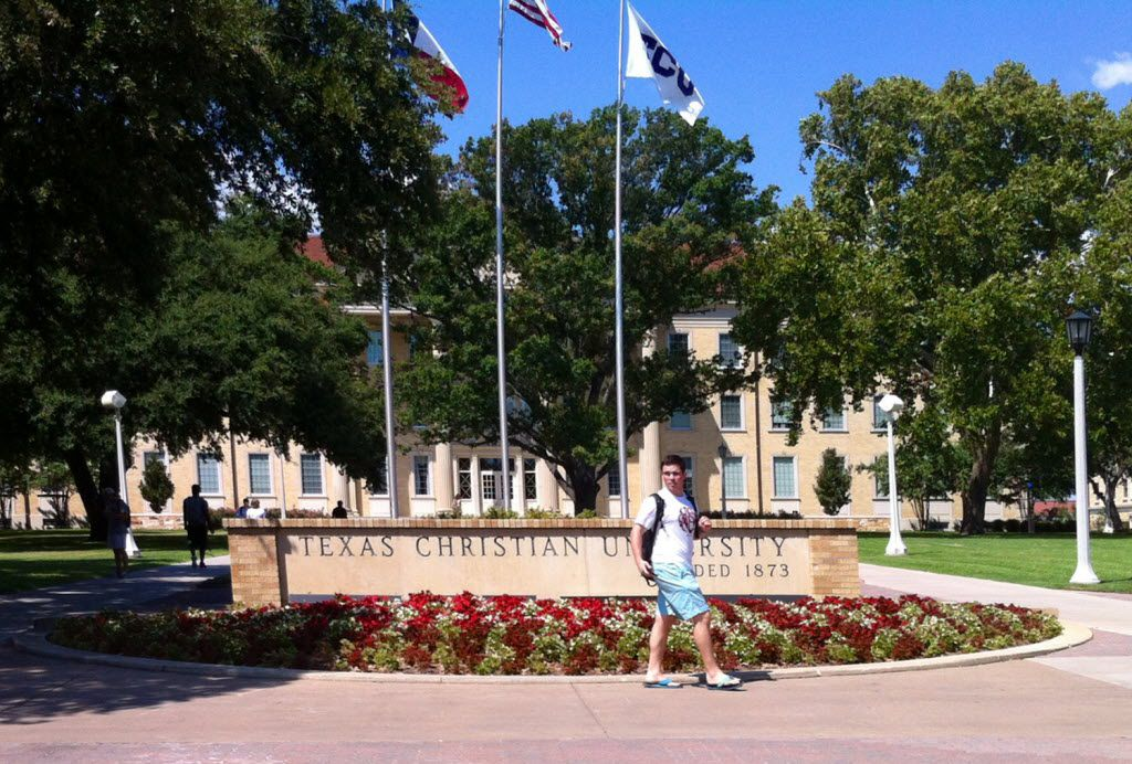 Main entrance to the Texas Christian University campus on University Boulevard in Fort Worth.
