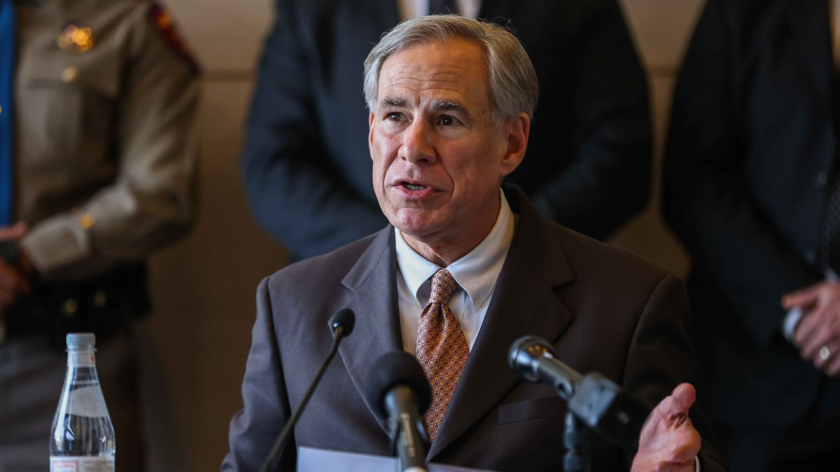 Gov. Greg Abbott during a press conference in Dallas, March 17, 2021.
