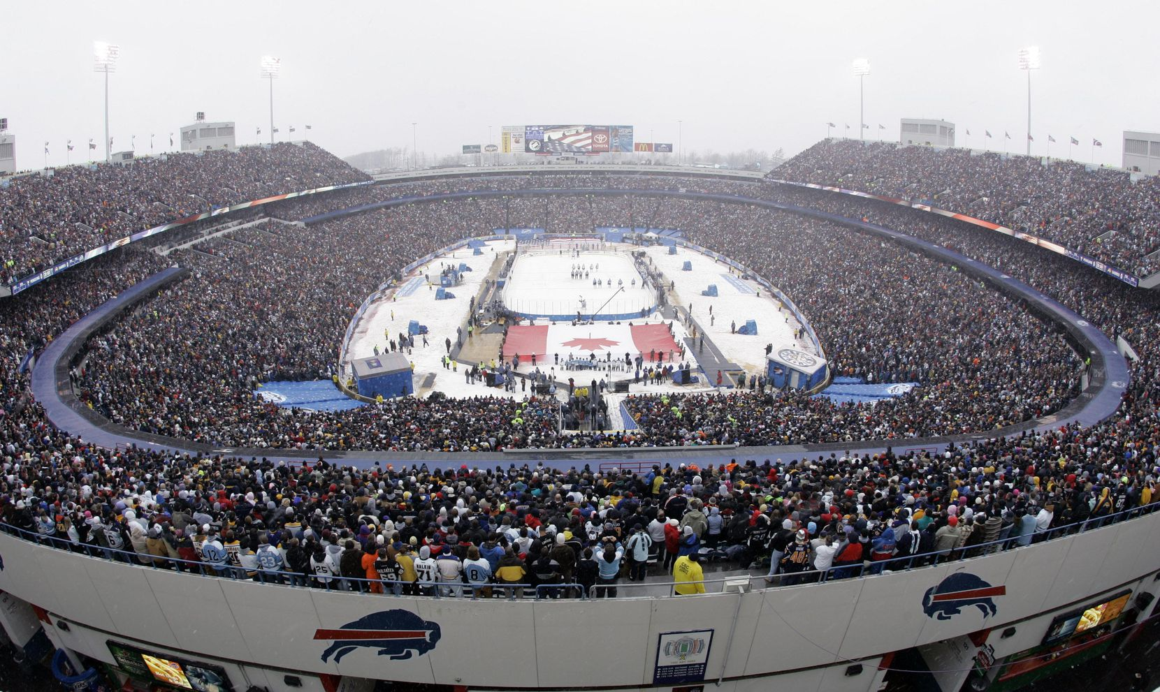 The Buffalo Sabres and Pittsburgh Penguins played during a steady snowfall in the 2008 NHL Winter Classic outdoor hockey game at Ralph Wilson Stadium in Orchard Park, N.Y.