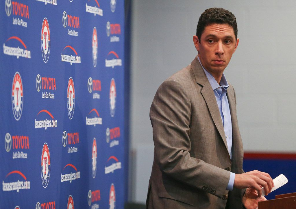 Rangers President of Baseball Operations and General Manager Jon Daniels addresses members of the media following the dismissal of Manager Jeff Banister on Friday, Sept. 21, 2018 at Globe Life Park in Arlington, Texas. Bench coach Don Wakamatsu has been named as the team's interim manager. (Ryan Michalesko/The Dallas Morning News)