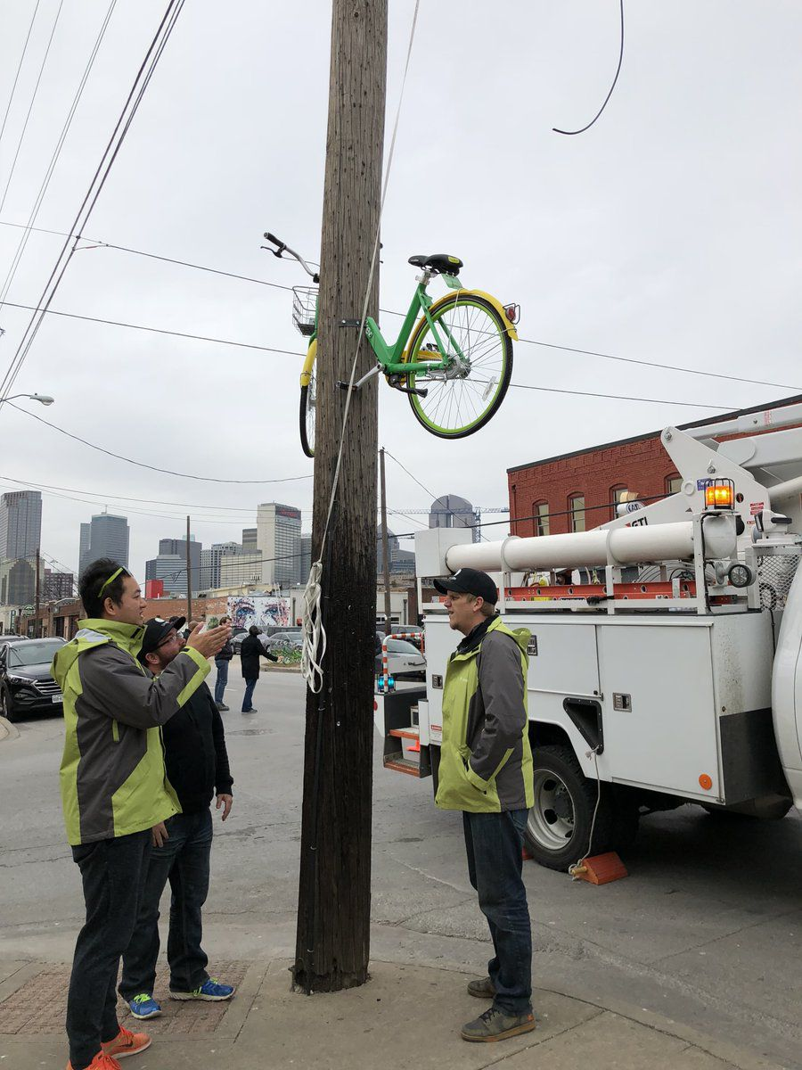 "Someone sawed a LimeBike in half and bolted it to a Deep Ellum phone pole last month. LimeBike tweeted this photo and said it was ""proud to serve"" Dallas."