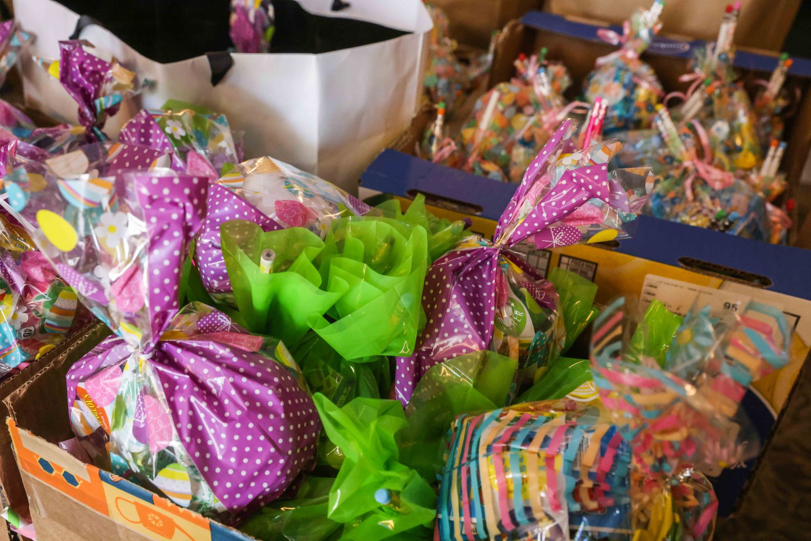 Easter meals for families in need were packaged and ready to go at First United Methodist Church in Coppell on Friday, April 2, 2021.