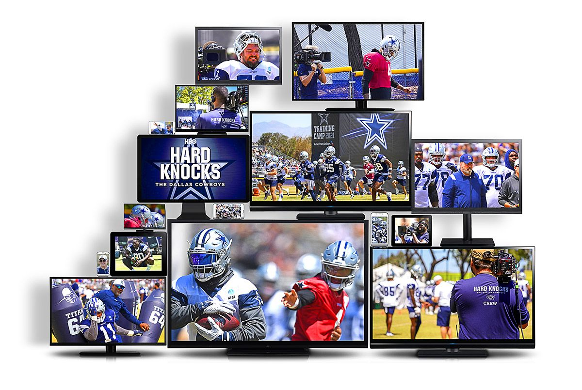 Hard Knocks, an annual NFL documentary series that this summer is chronicling the Cowboys' training camp and preseason, will air its season premiere Tuesday at 9 p.m. CT on HBO and HBO Max. (Photo illustration)