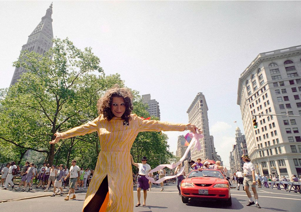 In this June 26, 1994, file photo, LGBT pioneer Sylvia Rivera leads an ACT-UP march past New York's Union Square Park.