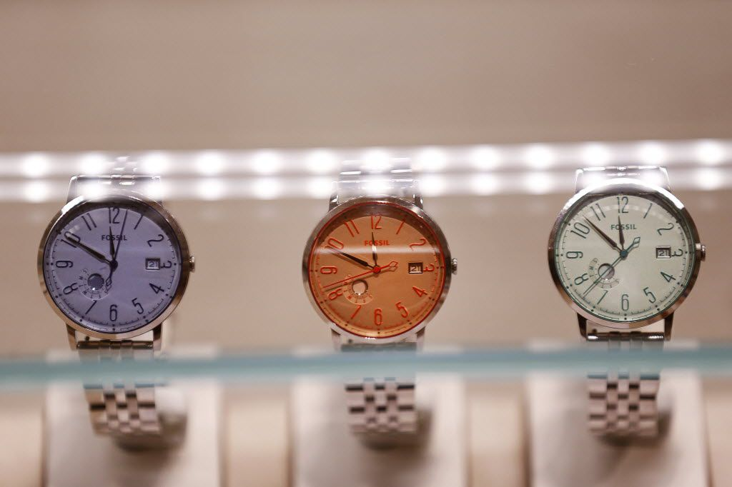 A watch display inside the Fossil store in the Stonebriar Centre in Frisco in 2016.