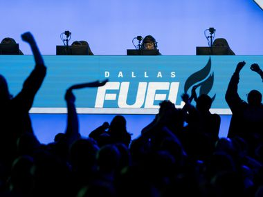 Fans cheer on the Dallas Fuel during a Overwatch League match against the Los Angeles Valiant at the Arlington Esports Stadium on Saturday, Feb. 8, 2020, in Arlington, Texas (Smiley N. Pool/The Dallas Morning News)