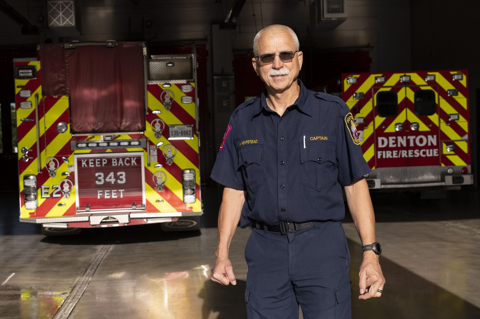 Capt. Stanley Hempstead poses for a photo on Monday, Aug. 30, 2021, at Denton City Fire Station 2 in Denton. Capt. Hempstead was part of a task force that responded to the World Trade Center on Sept. 16, 2001.