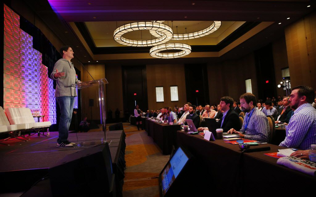 Dallas Mavericks owner Mark Cuban addresses questions from the audience during his keynote appearance the Fantasy Sports Trade Association conference in Dallas last year. (Tom Fox/Staff Photographer)