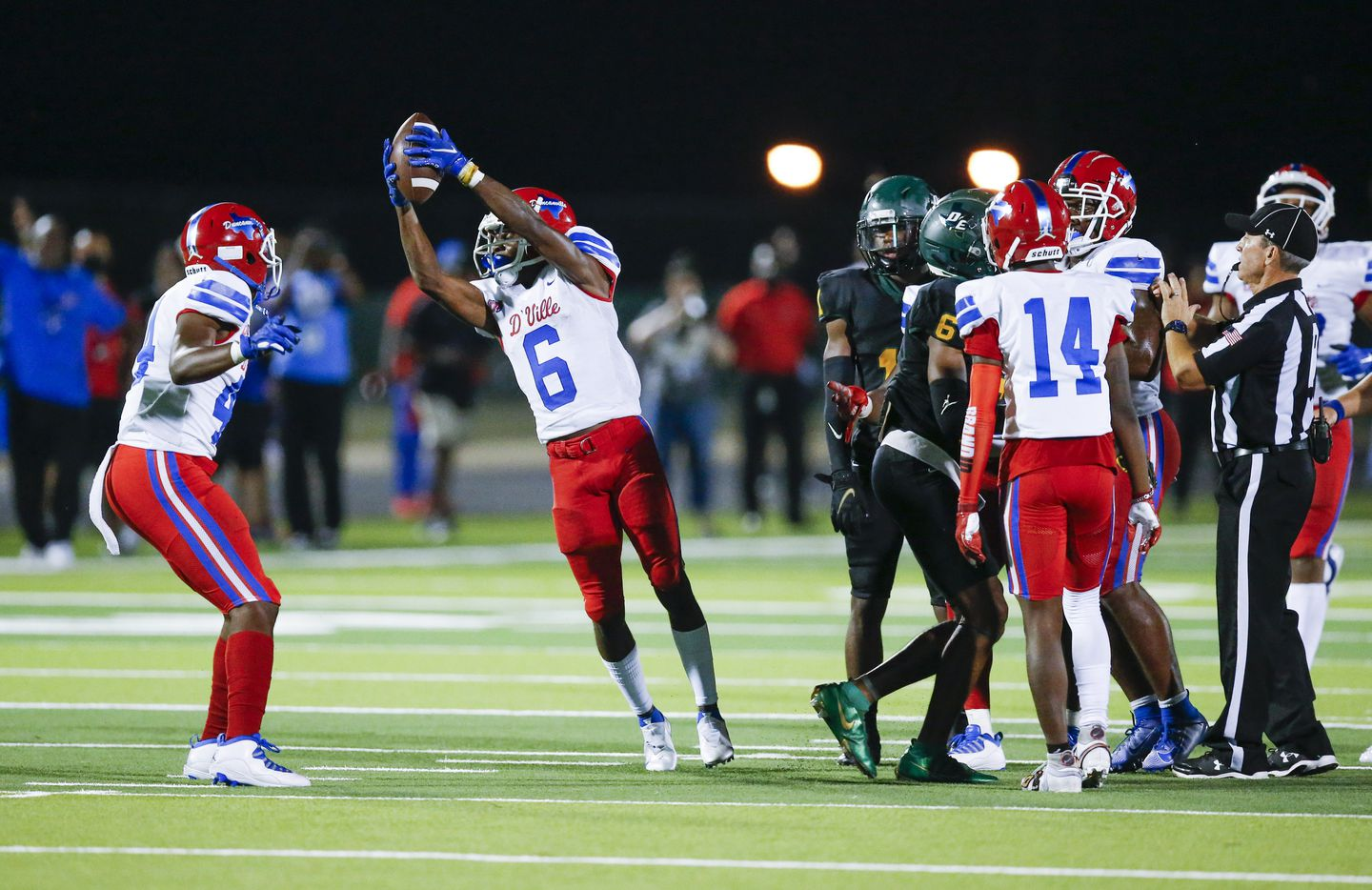 Duncanville senior Da'Myrion Colemman (6)(CQ) celebrates coming up with a DeSoto fumble on a punt return during the second half of a high school football game at DeSoto High School, Friday, September 17, 2021. Duncanville won 42-21. (Brandon Wade/Special Contributor)