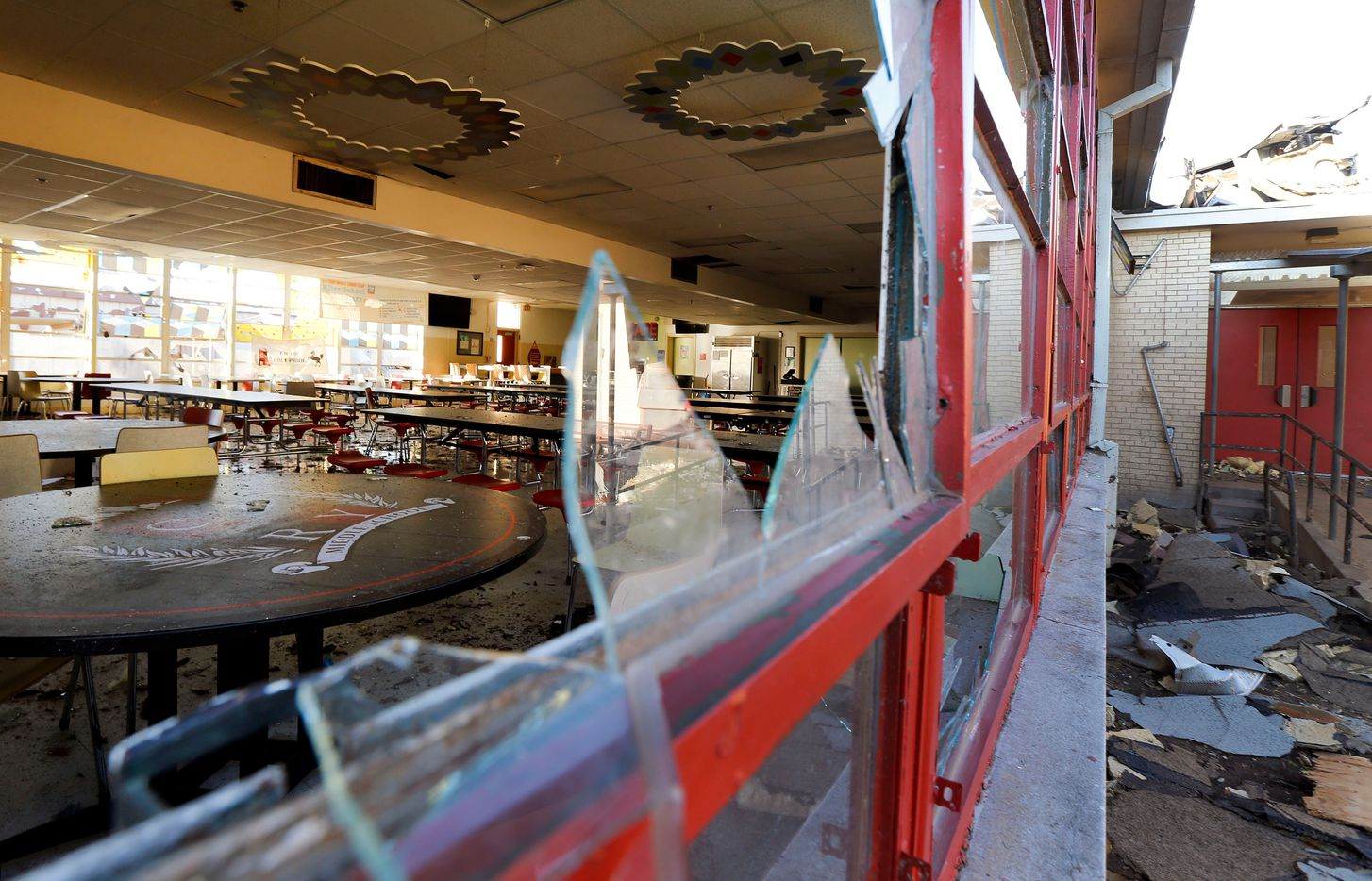 Tornado damage in the cafeteria of Cary Jr. High School at Killon Dr. and Hedgeway Dr. in Dallas, Monday, October 21, 2019. (Tom Fox/The Dallas Morning News)