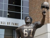 Friday morning the Texas Longhorns unveiled a 12½-foot statue of  Julius Whittier, the schools' first Black letterman, outside the north end of Darrell K Royal-Texas Memorial Stadium on Friday.