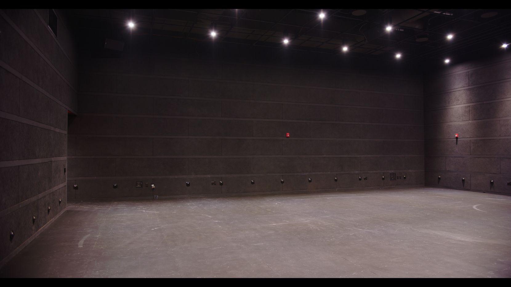 The raw interior of the new multiform black box theater at the Latino Cultural Center in Dallas.