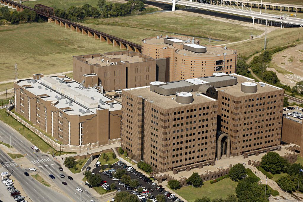 Aerial photograph of the Lew Sterrett Justice Center - including the Dallas County criminal courts (foreground) and the Dallas County Jail (background).
