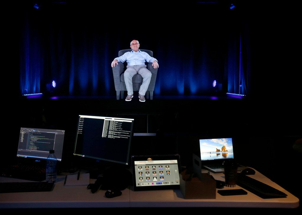 Technicians are making final adjustments to a holographic image of Holocaust survivor Max Glauben seen in the Dimensions in Testimony interactive exhibit at the new Dallas Holocaust and Human Rights Museum in downtown Dallas.