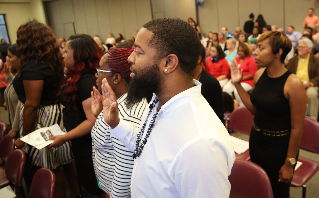 """Members of North Texas' latest crop of CPS workers, """"Class V36,"""" took an oath of office and heard an upbeat report about their agency's trajectory from their agency's chief Friday."""