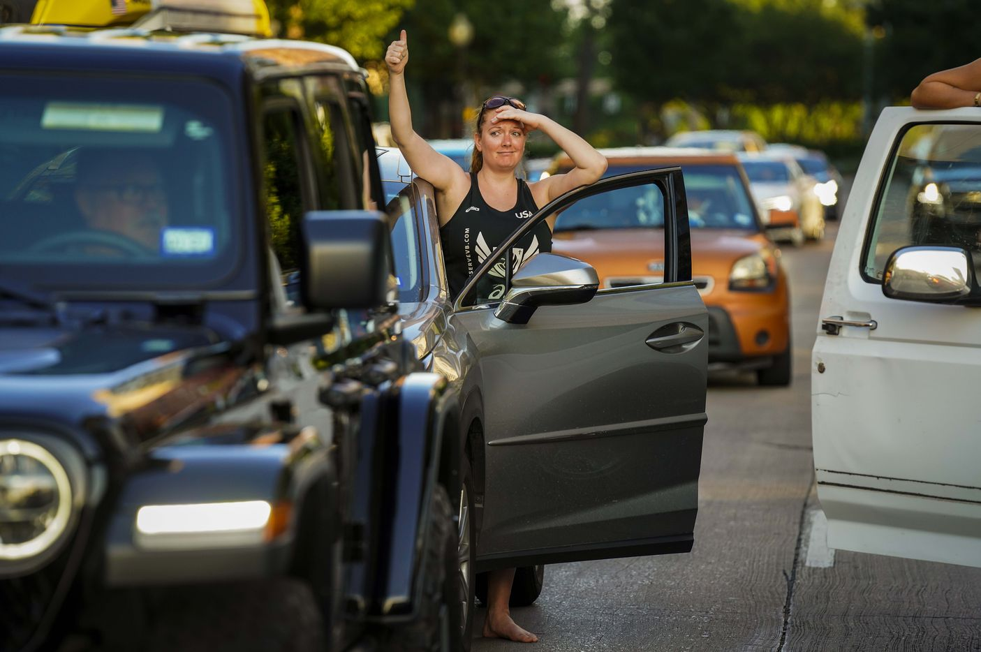 Tori Thompson gets out of her car to show support for protesters blocking the intersection of McKinney and Blackburn in the West Village for 8 minutes and 42 second during a march that began at Cole Park on Friday, June 5, 2020, in Dallas. Protests continued Friday in the response to the death of George Floyd.