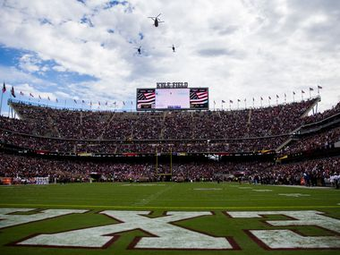 Helicopters fly over Kyle Field before a college football game between Texas A&M and Alabama on Saturday, October 12, 2019 in College Station, Texas. (Ashley Landis/The Dallas Morning News)