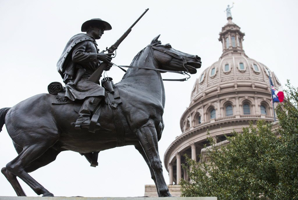 The Terry's Texas Rangers monument outside the state Capitol in Austin.  Terry's Texas Rangers was a group of Texas volunteers for the Confederate States Army assembled by Col. Benjamin Franklin Terry.