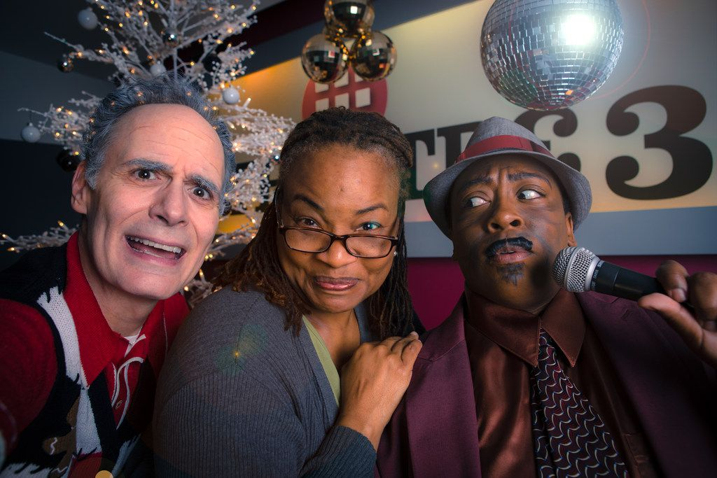 (from l-r) Paul Taylor, Denise Lee and Cherish Robinson in Solstice: A New Holiday Adventure, presented by Theatre Three Dec. 6-30.