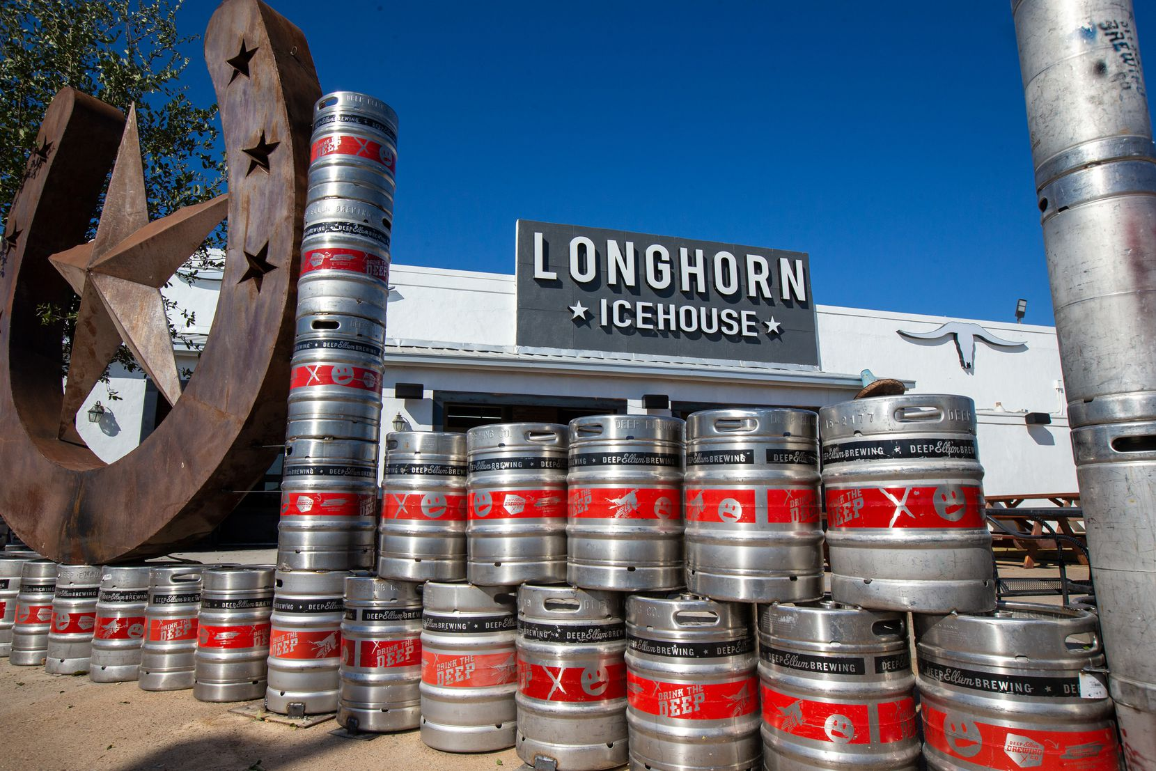 Longhorn Icehouse is located on W. Northwest Highway in Dallas. Stacks of kegs can be seen inside and outside the massive, 20,000 square-foot bar.