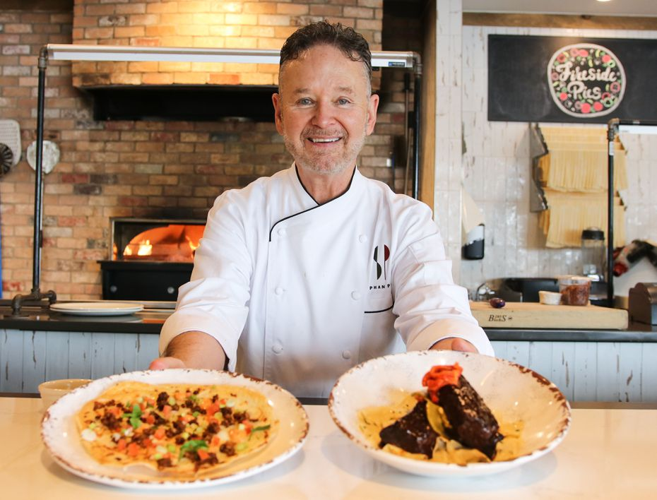 Retired Dallas chef Stephan Pyles partnered with Fireside Pies in 2020 to create 10 new items at its restaurants in North Texas.